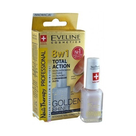 Eveline - Nail Therapy - 8w1 TOTAL ACTION - Skoncentrowana odżywka do paznokci GOLD SHINE 12ml