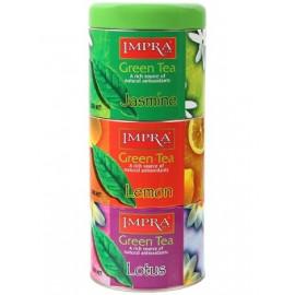 Impra 3x100g Green Zestaw Zielona herbata liściasta w puszkach