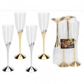 Plastikowe kieliszki do szampana srebrne