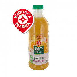 Sok wieloowocowy na bazie soków i przecierów z 6 owoców Pasteryzowany metodą flash. Produkt rolnictwa ekologicznego.