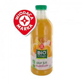 Sok wieloowocowy na bazie soków i przecierów z 6 owoców. Pasteryzowany. Produkt rolnictwa ekologicznego.