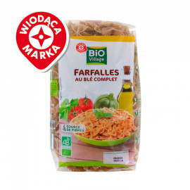 Ekologiczny makaron- kokardki z pełnoziarnoistej pszenicy. Produkt rolnictwa ekologicznego.