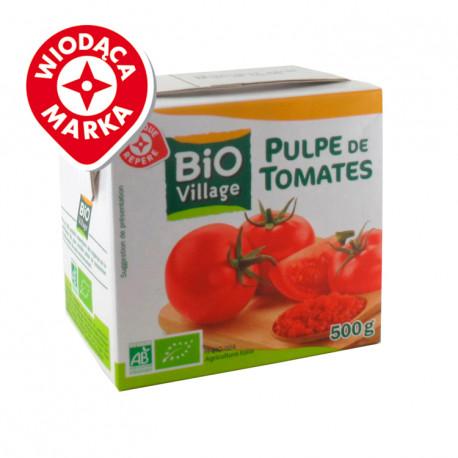 Pomidory krojone bez skórki  w soku pomidorowym. Produkt rolnictwa ekologicznego. Produkt pasteryzowany.