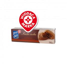 Kruche ciastka kakaowe z nadzieniem orzechowo-kakaowym – 12 sztuk.