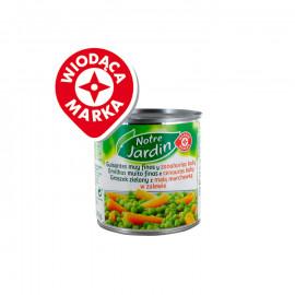 Groszek zielony z drobną marchewką w zalewie. Produkt sterylizowany.