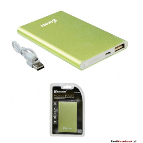 VAKOSS Power Bank 5000mAh, Li-Ion, aluminium TP-2574E zielony