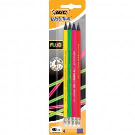 BiC EVOLUTION Bezdrzewne ołówki grafitowe z gumką 4 szt