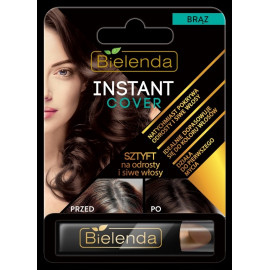 BIELENDA Instant Cover, Sztyft na odrosty i siwe włosy, brąz, 4,3g