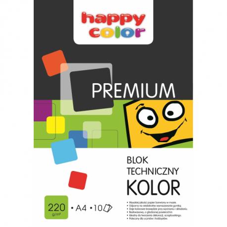 HAPPY COLOR Blok techniczny  Premium, kolorowe kartki, A4, 220 g/m2