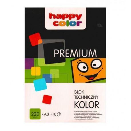 HAPPY COLOR Blok techniczny A3/10 kolorowych kartek