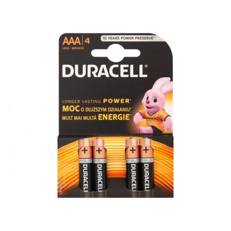 Duracell AAA LR03/MN2400 1,5 V Baterie alkaliczne 4 sztuki