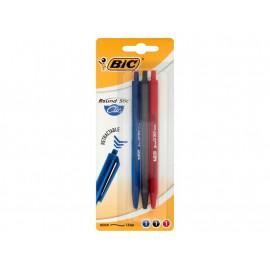 BiC Round Stic Clic Długopis automatyczny miks kolorów 3 sztuki