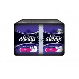 Always Platinum Super Plus Podpaski ze skrzydełkami, 12 sztuk