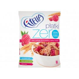 Fitella Zero Płatki z pełnego ziarna pszenicy z maliną i żurawiną 225 g