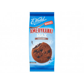 E. Wedel Amerykanki Max kakaowe Kruche ciastka z kawałkami czekolady i kremem czekoladowym 170 g