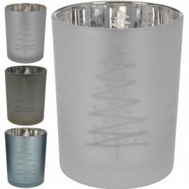 SCAWAR Świecznik szklany szroniony z motywem choinki