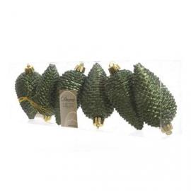 DECORIS Szyszki plastikowe z brokatem zielone 6 szt.