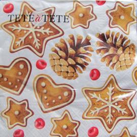 TETEaTETE Serwetki świąteczne pierniki i szyszki