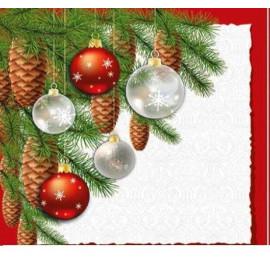 TETEaTETE Serwetki świąteczne bombki i szyszki