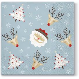 TETEaTETE Serwetki świąteczne Mikołaj, renifery, choinka