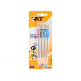 BiC Cristal Grip Długopis miks kolorów 4 sztuki