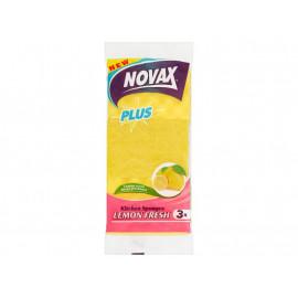 Novax Plus Gąbki kuchenne świeża cytryna 3 sztuki