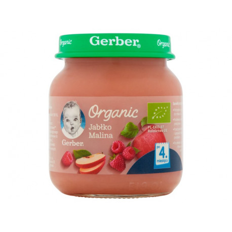 Gerber Organic Jabłko malina po 4 miesiącu 125 g