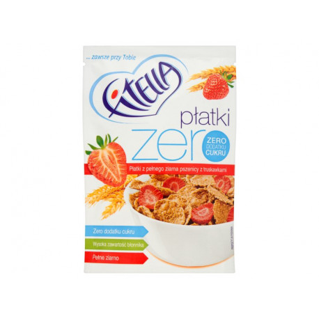 Fitella Zero Płatki z pełnego ziarna pszenicy z truskawkami 40 g