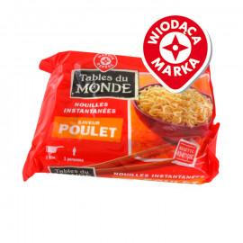 Zupa instant na bazie mąki z pszenicy twardej i mąki pszennej z saszetką z preparatem aromatyzującym o smaku kurczaka.