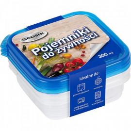 Grosik pojemnik do żywności plastikowy 300ml 3 sztuki